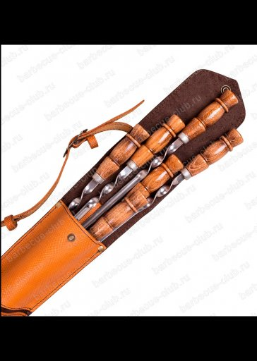 Подарочный набор шампуров в кожаном колчане  Арт. Ш-90